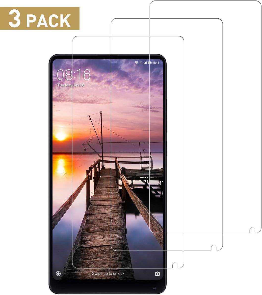 SNUNGPHIR Cristal Templado Compatible para Xiaomi Mi Mix 2, [3 Piezas] [Alta Definición] [9H Dureza] Vidrio Templado Protector de Pantalla para Xiaomi Mi Mix 2 [Sin Cobertura Toda Pantalla]