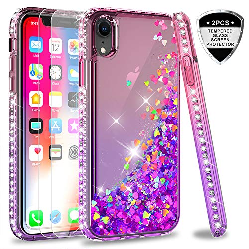 iPhone XR Case with Tempered Glass Screen Protector [2 Pack] for Girls Women, LeYi Glitter Bling Luxury Diamond Quicksand Liquid TPU Clear Phone Case for Apple iPhone XR (6.1 inch) ZX Pink/Purple