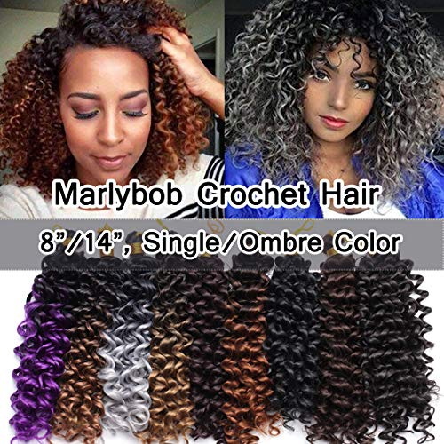 Marlibob Marlybob Crochet Braids Hair Extension 8 Inch Water Wave Crochet Braiding Hair Braids Kinky Curly Afro Jerry Curl Crochet Hair Weave for Black Women #Natural Black (Best Synthetic Curly Weave)