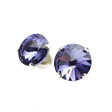 537fa32f5 pewterhooter 925 Sterling Silver stud earrings handmade with sparkling  Tanzanite crystal from SWAROVSKI® for Women: Amazon.co.uk: Jewellery