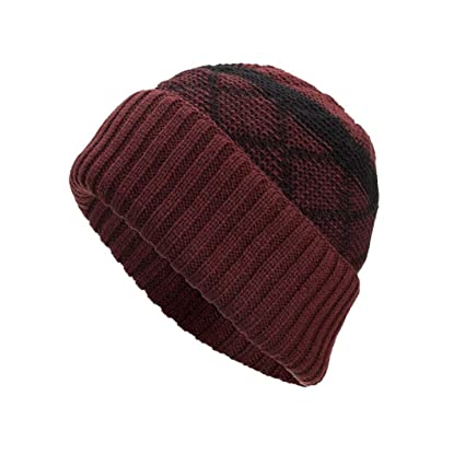 0bfd026a36b Image Unavailable. Image not available for. Color  AutumnFall Womens Mens  Winter Warm Knitting Hats Wool Baggy Slouchy Beanie Hat Skull ...