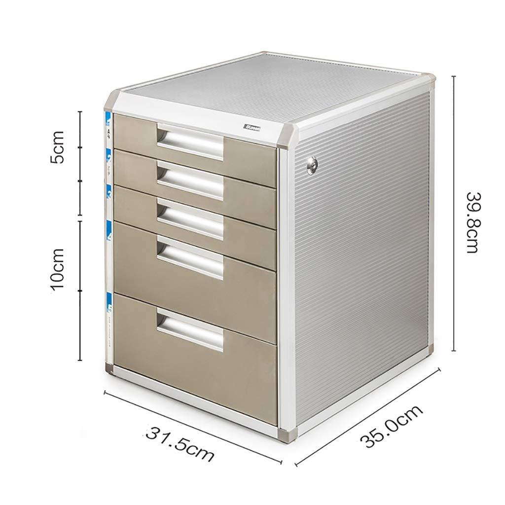 31.5x35x29.8cm XIAOPING Desktop Storage Cabinet Aluminum Alloy Lock Drawer Bedside Table (Size   31.5x35x29.8cm)