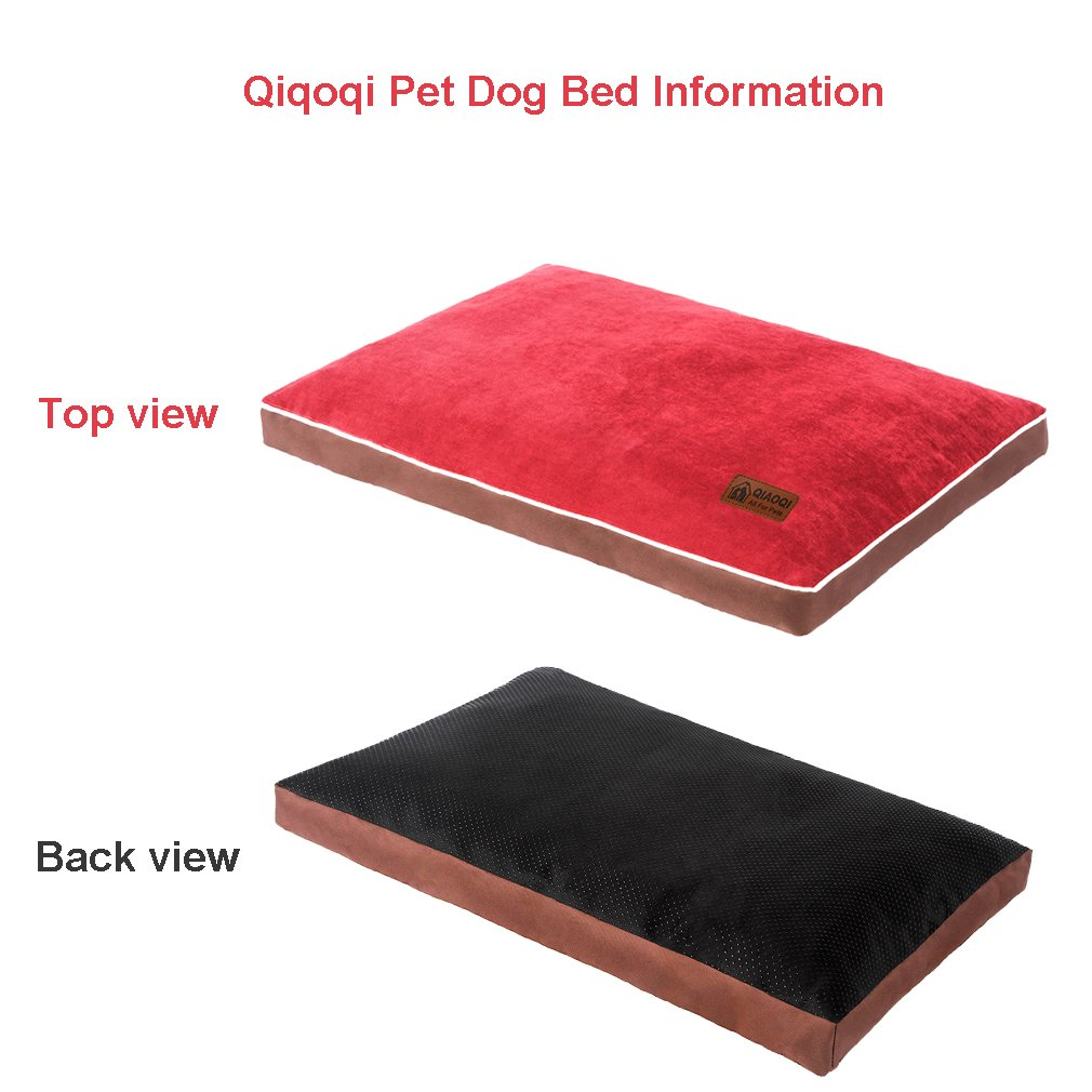 QIAOQI Dog Bed Delux Orthopedic Pet Cushion Mattress for Dogs and Cats Medium Wine Red by QIAOQI (Image #3)
