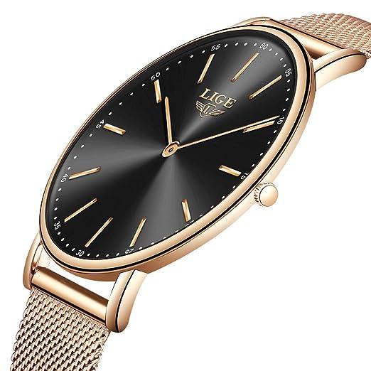 14954574dcfa LIGE Ultra Delgado Relojes para Hombre Unisex Impermeable Deporte Acero  Inoxidable Malla Reloj de Pulsera Gents Moda Simple Análogo Relojes para  Mujer  ...