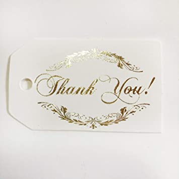 Amazon Com Thank You Tags 50 Pack Gold Foil Printing Off White