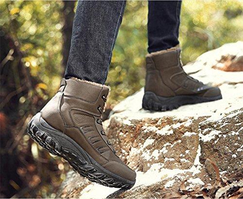 Hombres Nieve Botas Algodón Deportes Zapatos Alto Invierno Cuero Casual Antideslizante Calentar Con cordones Negro Otoño Al aire libre Grande tamaño 39-44 Camel