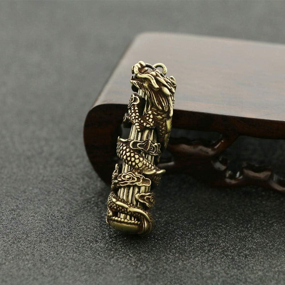 XAIOXX Colgante de Cadena de Llavero de Pilar de dragón Grande sólido de Cobre Puro Colgante de latón dominante Colgante de joyería Artesanal Antigua