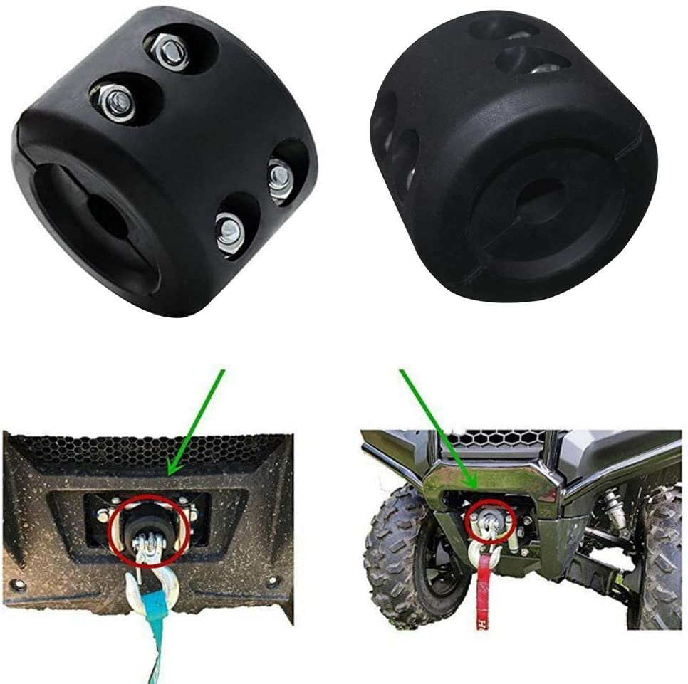 NovelBee 2 Pack of Rubber Winch Cable Hook Stopper,Winch Rope Line Saver with Allen Wrench and Screws for ATV UTV Vehicles