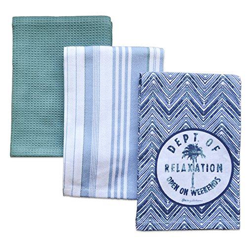 Lenox Tommy Bahama Palm Tree Set of 3 Kitchen Towels, Blue - Lenox Blue Tree