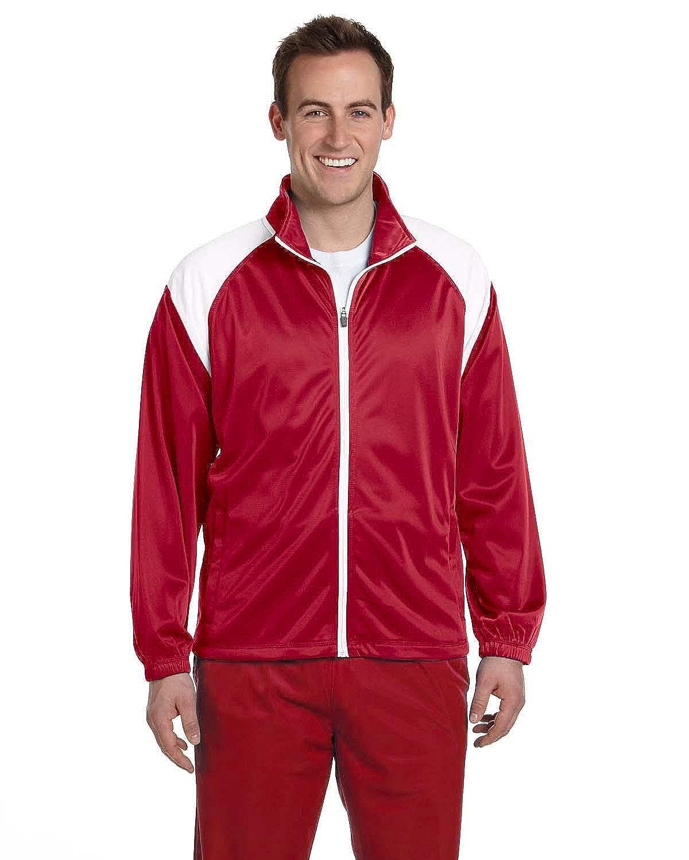 Harriton Mens Tricot Track JacketXL RED//WHITE M390