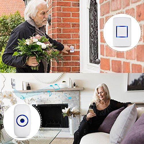1000 Feet Operating 36 Adoric Life Wireless Doorbell Waterproof Door Bell Kit