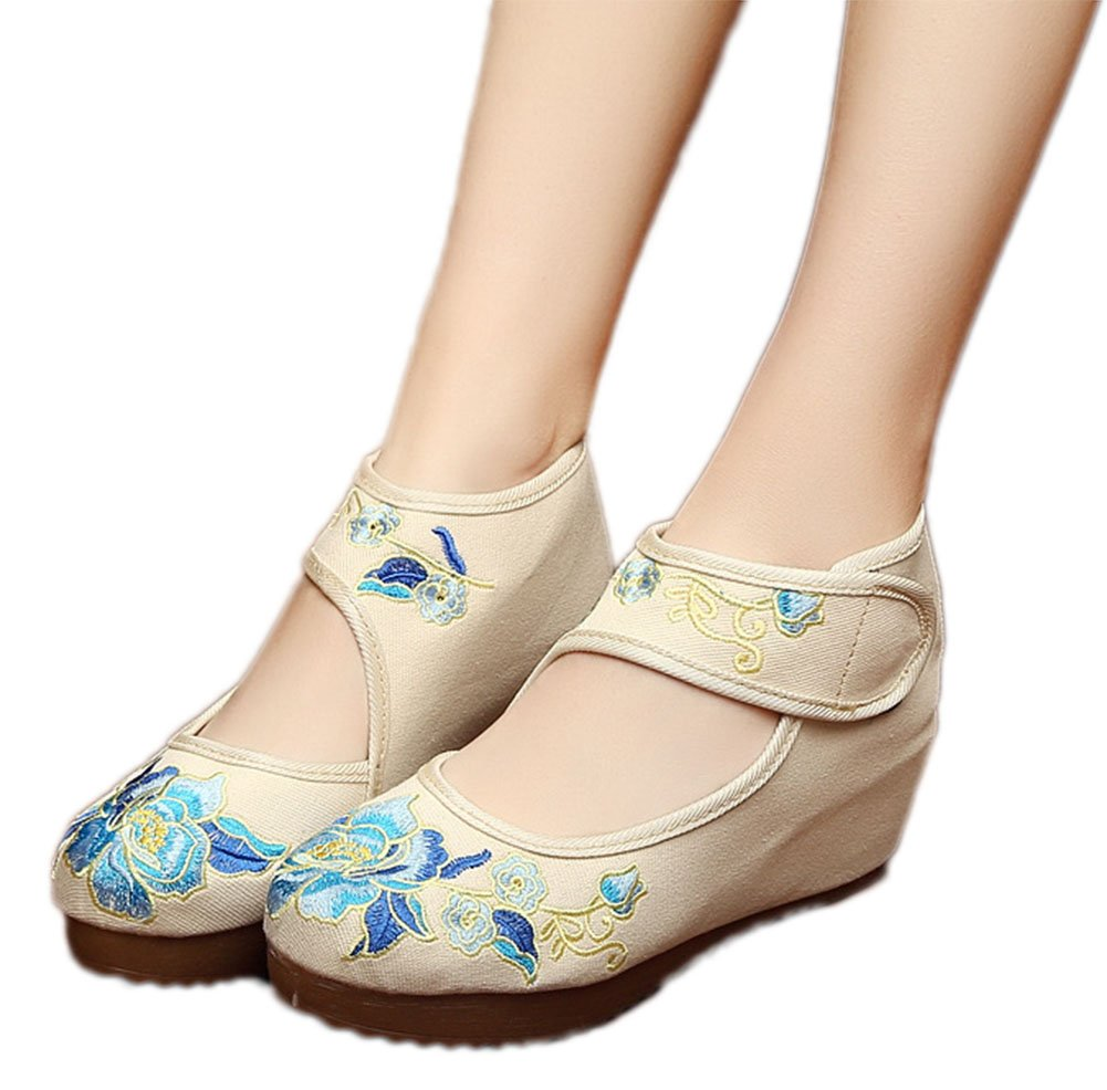 AvaCostume Womens Velcro Chinese Embroidered Oxfords Sole Fashion Wedge Shoes, Beige 37