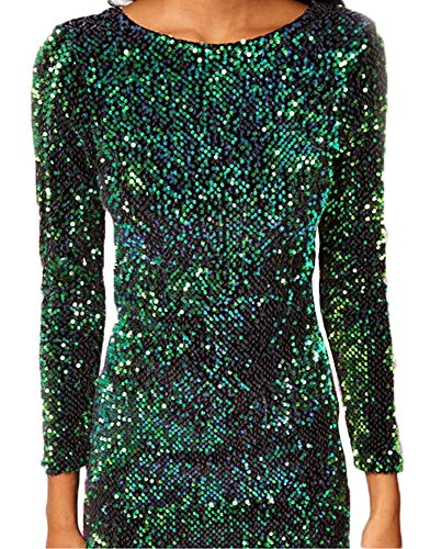 Donna Slim Fit Vestito Matita Paillettes Maniche Lunghe Scollo A V Abito Bodycon Dress Mini Vestito da Sera Cocktail A Verde