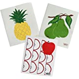 Swedish Treasures Wet-it, Set of 3! Cleaning Cloth, Works Great in Kitchen, Bathroom or Any Room, Reusable & Biodegradable, Fruit Trio Pineapple, Apple Slices and Bartlett Pear