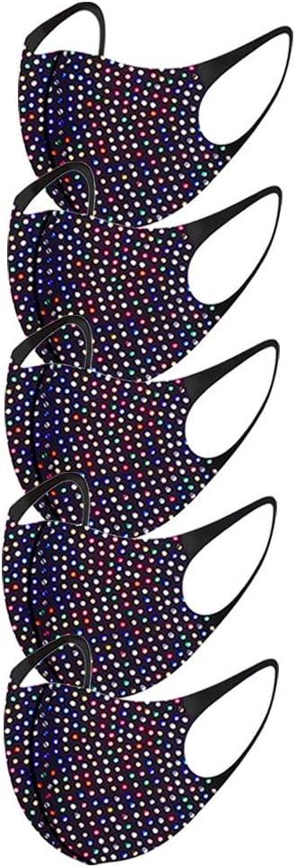 5 pcs Unisexo Reutilizable De Moda Mascarada Diamante de imitaci/ón Cristales Cara Pa/ñuelos Respirable Pasamonta/ñas para el Deporte al Aire Libre