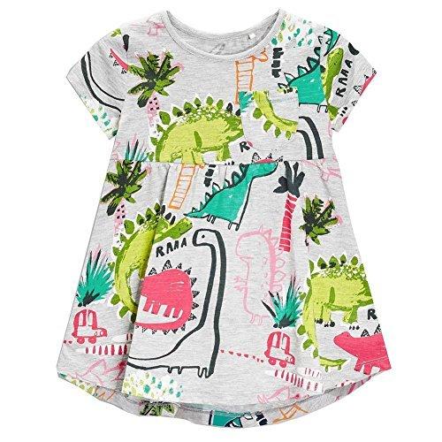 Frogwill Girls Grey Dinosaur Tunic Short Sleeve Summer Casual Dress -