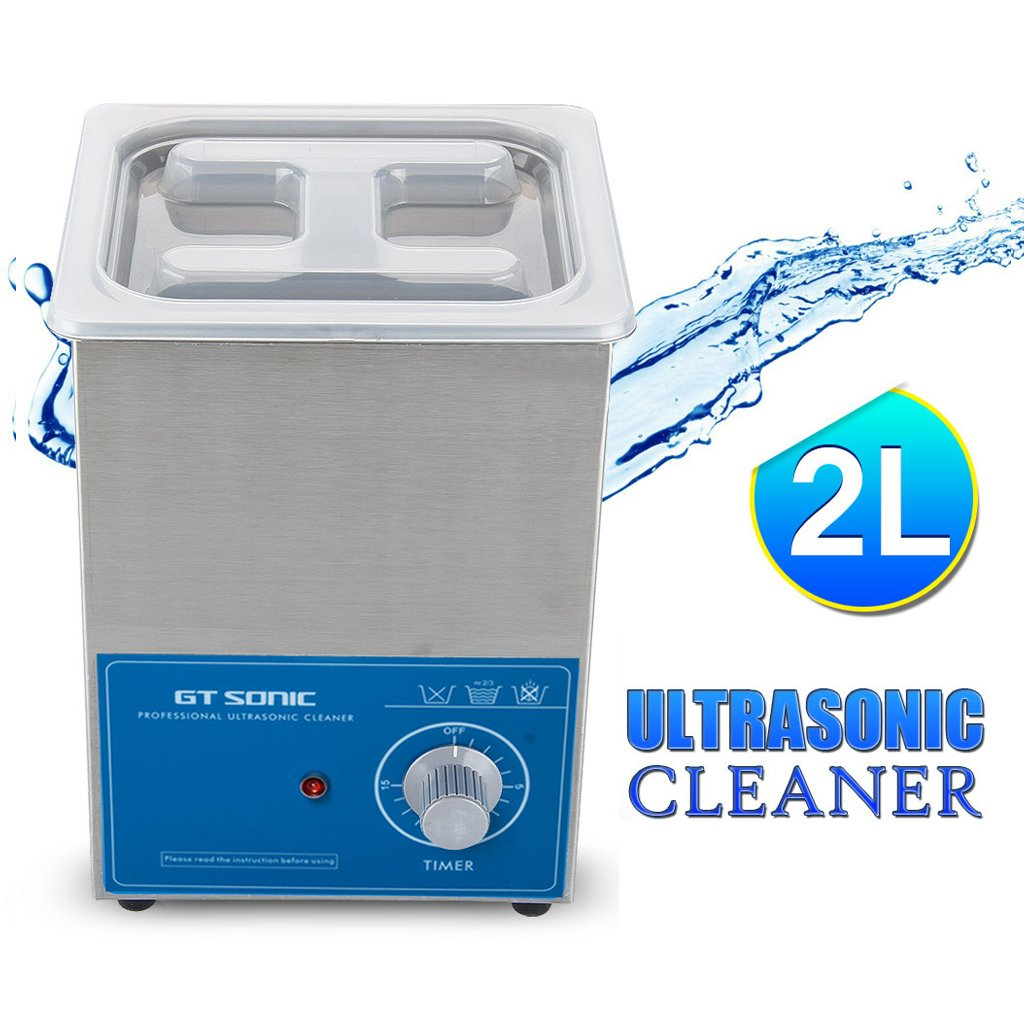 GT SONIC Ultrasonic Cleaner 2L Stainless Tank with Digital Timer Jewelry Cleaner Machine for Jewellery Glasses Watches Metal Parts Razor Dentures CDs Lab Tools