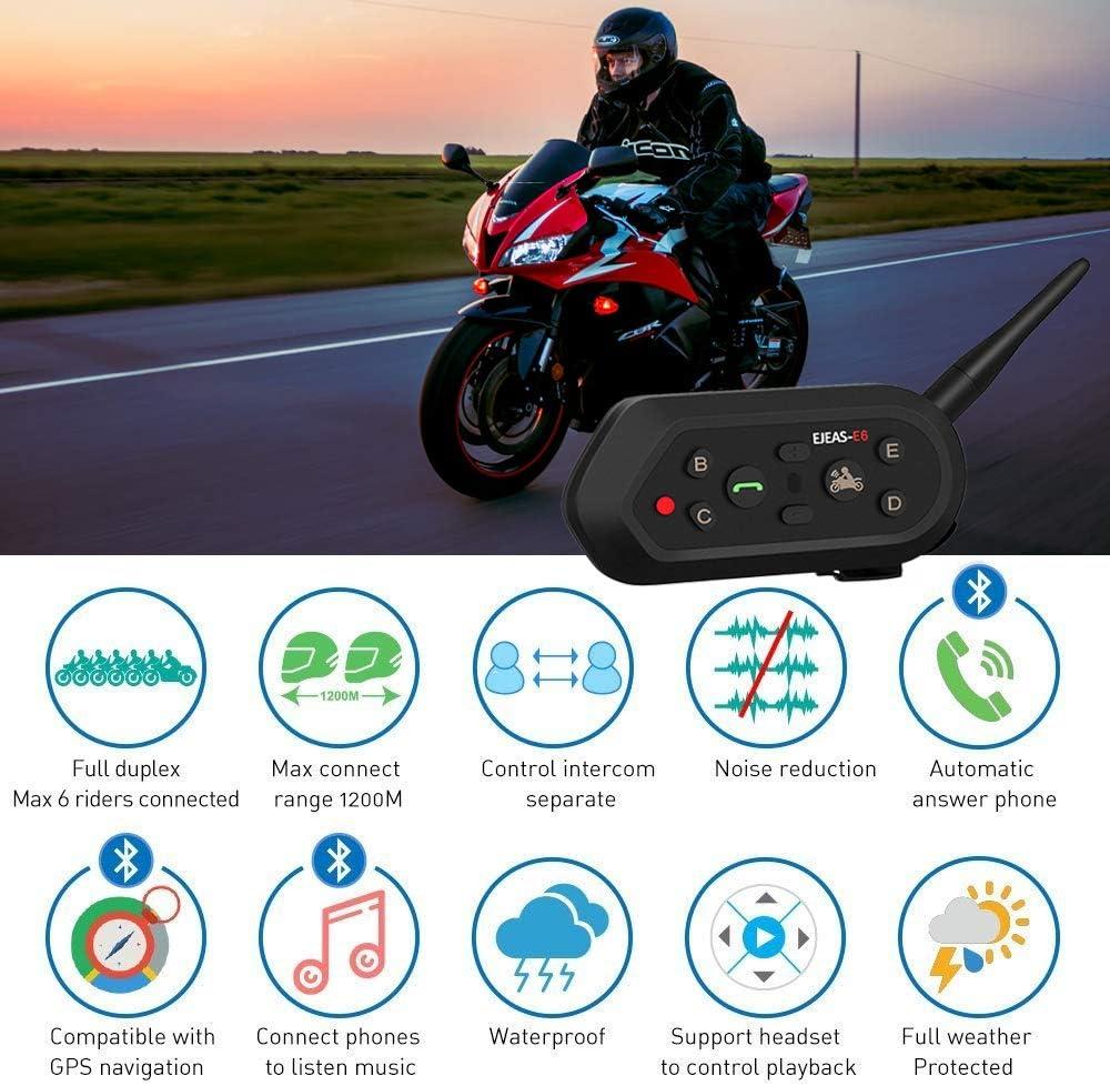 Amazon.com: EJEAS E6 Bluetooth Intercom Full Dúplex Moto ...