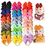 30 PCS Big Bows Baby Nylon Headbands Hairbands Hair Bows Elastics for Baby Girls Newborn Infant Toddler Child Hair Accessories (Color: Multicolored1, Tamaño: 4.5 inches)