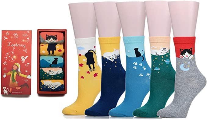 5//10 Pack women/'s 80/% Cotton ankle Boat Casual Low Cut Socks Panda Penguin
