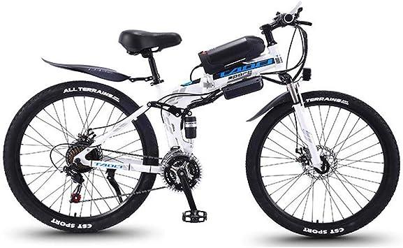 Bicicleta de montaña eléctrica Plegable para, Bicicletas de Nieve, batería extraíble de Iones de Litio de 36 V y 10 Ah para Bicicleta eléctrica de 26 Pulgadas,Blanco,21 Speed: Amazon.es: Deportes y aire
