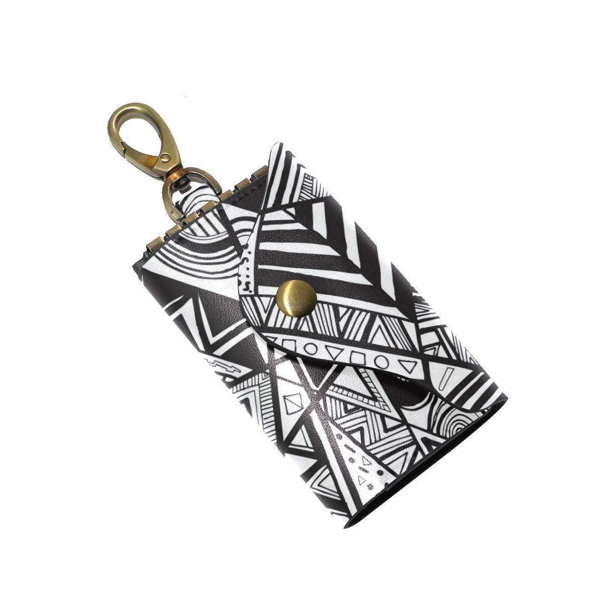 KEAKIA Graphic Pattern Leather Key Case Wallets Tri-fold Key Holder Keychains with 6 Hooks 2 Slot Snap Closure for Men Women