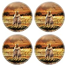 MSD Natural Rubber Round Coasters IMAGE ID: 13897352 The Tetrarchs a porphyry sculpture sacked from a Byzantine palace in 1204 Treasury of St Marks Venice