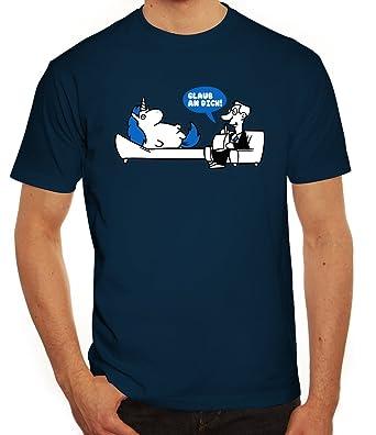 ShirtStreet Unicorn Herren T-Shirt mit Einhorn - Glaub an Dich Motiv, Größe: