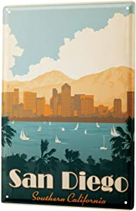 LEotiE SINCE 2004 Tin Sign Metal Plate Decorative Sign Home Decor Plaques Deco City San Diego Southern California Palm Trees Sailboats Skyline 8X12