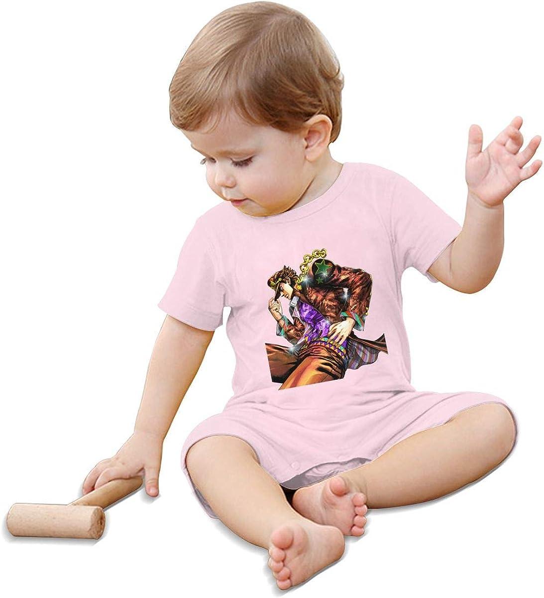 5husihai JoJos Bizarre Adventure 1-24 Months Boy Girl Baby Short Sleeve Creeper Jumpsuit Pink