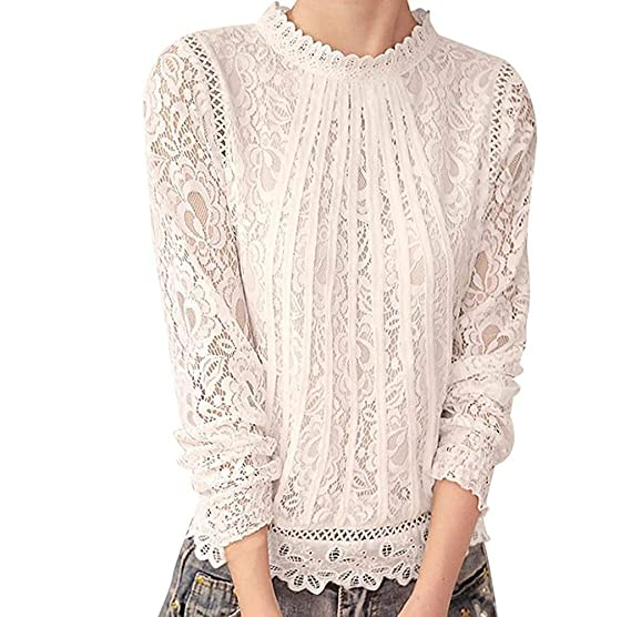 fb3757b9f85 Blusa Encaje Elegante Mujer Vintage Camisas Manga Larga Cuello Redondo  Hueco Fiesta Slim Fit Camisetas Primavera Otoño Ropa Basicas Tops Casual  Encaje: ...