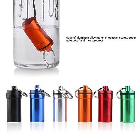 WINOMO 6 piezas Pastillero Píldoras Llavero Caja Botella Contenedor De Aluminio Impermeable: Amazon.es: Hogar
