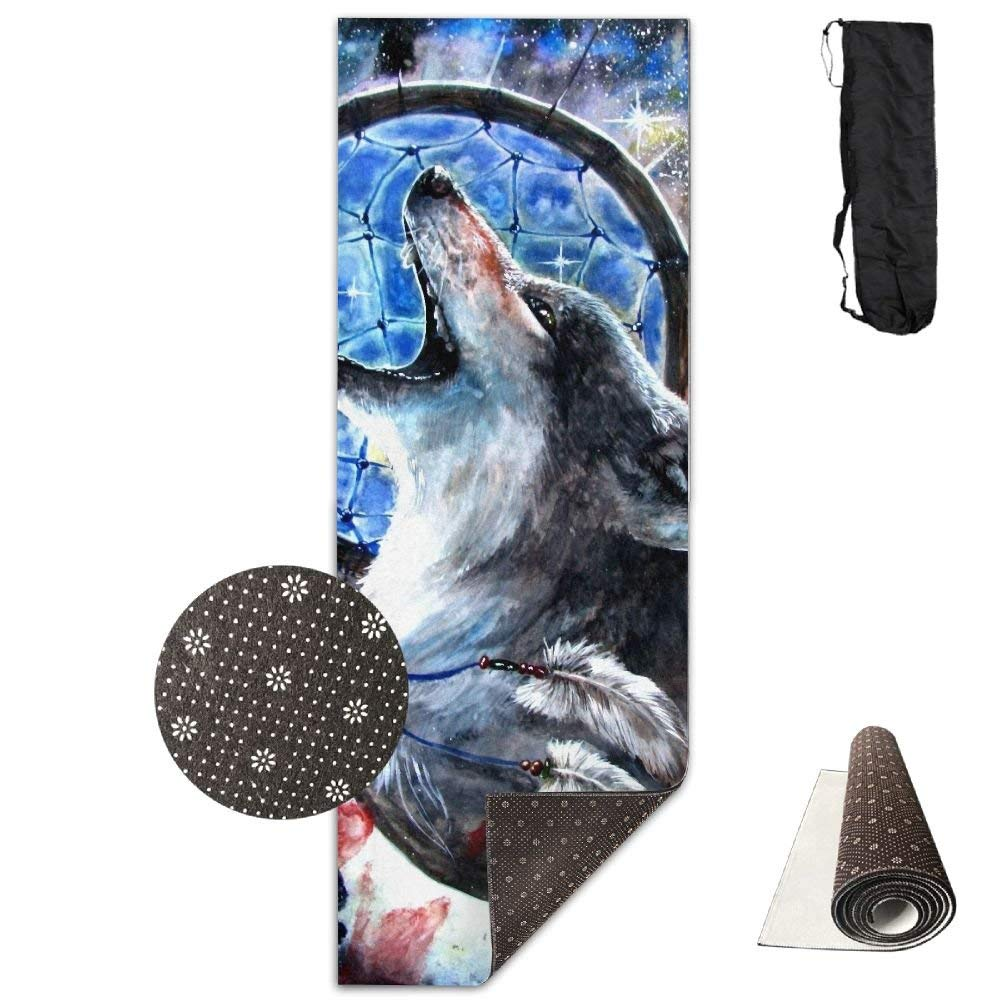 Dreamcatcher Wolf Yelling Deluxe,Yoga Mat Aerobic Exercise Pilates Anti-Slip Gymnastics Mats