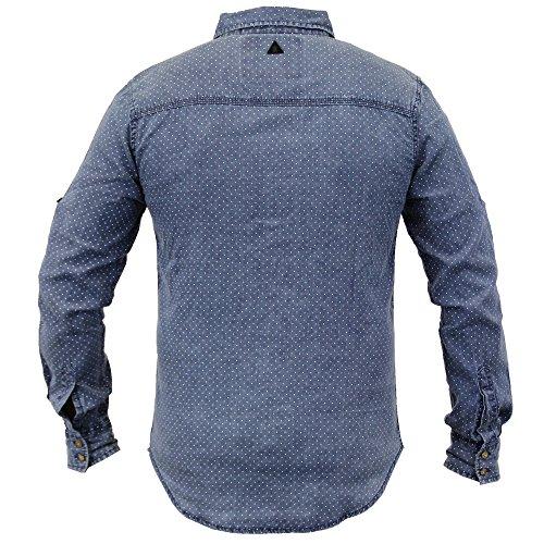 Soul Star Herren Denim-Hemd, gepunktet, langärmelig - Blau - SLOWLYPKB, XX-Large