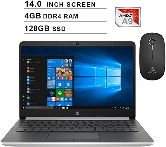 2020 Newest HP Pavilion 14 Inch Premium Laptop| AMD A9-9425 up to 3.7GHz| 4GB DDR4 RAM| 128GB SSD| AMD Radeon R5| WiFi| Bluetooth| Windows 10 Home S + NexiGo Wireless Mouse Bundle