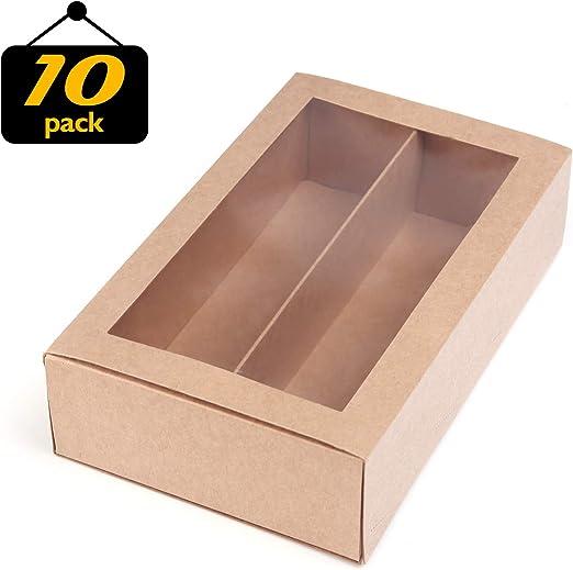 Macaron cajas para macarons caja para 12 Macaron contenedor Macaroon cajas de embalaje con ventana transparente (kraft, 10 unidades por paquete) 7,3 pulgadas × 2 pulgadas × 2 pulgadas: Amazon.es: Hogar