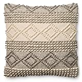 Magnolia Accent Pillow Unique Nubby Weave of Space-dyed Yarns With A Raised Design 22-Inch x 22-Inch in Grey/Ivory
