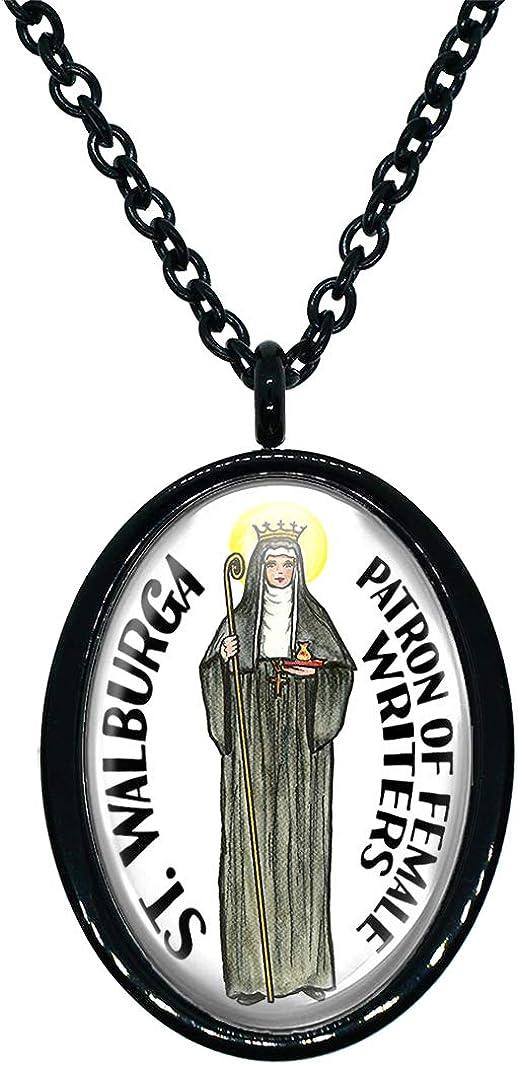 My Altar Saint Walburga Patron of Female Writers Black Stainless Steel Pendant Necklace