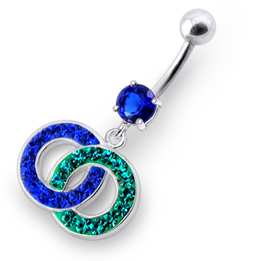 Dark Blue CZ Crystal Gemstone Stylish 2 Tone Twin Circle Dangling 925 Sterling Silver Belly Ring Body jewelry