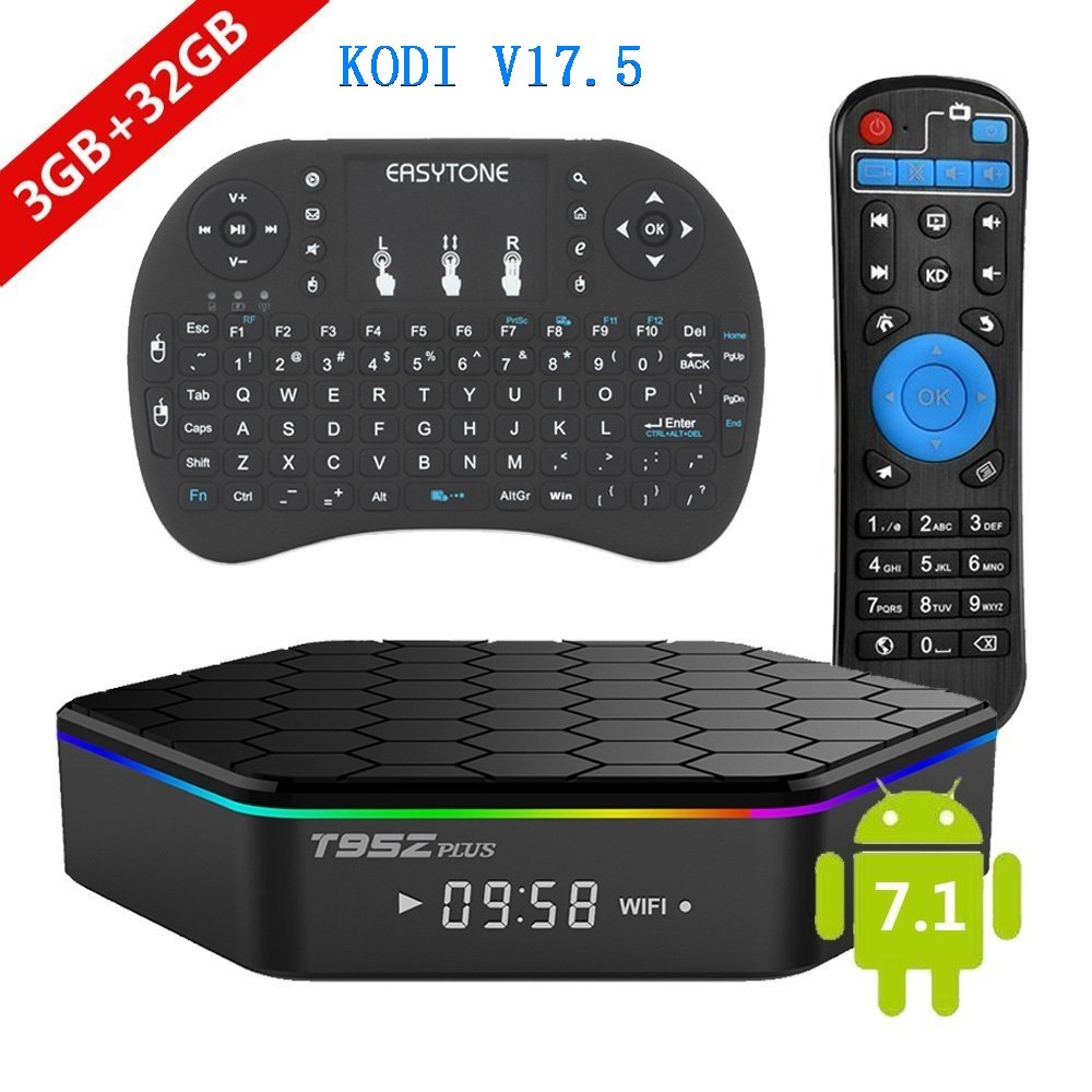 [2017 New Version] Genuine guarantee, sold by LCBOX, Kodi V17.6 T95Z Plus Android 7.1 Bluetooth TV Box Amlogic S912 64 Bits Octa Core 4K /H.265 /WiFi 2.4/5GHz /3GB+32GB+ Mini Wireless Keyboard