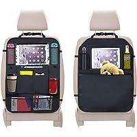 URAQT Autostoelbeschermer, 2 stuks achterbank-organizer voor kinderen, doorzichtige iPad tablethouder…