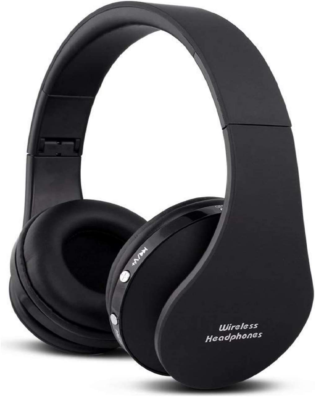 Wireless Foldable Headphones, Bluetooth Over-Ear Stereo Earbuds Wired Headsets with Built-in Microphone with 3.5mm Jack by Mikicat  (Black)