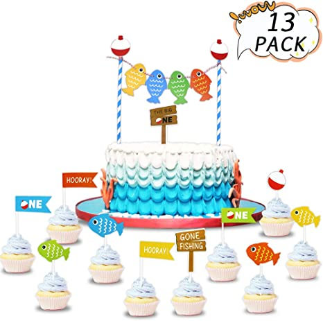 Excellent Amazon Com Big One Cake Toppers Birthday Banner Fish First Personalised Birthday Cards Cominlily Jamesorg