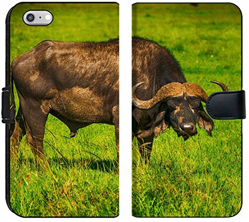 Apple iPhone 6 Plus and iPhone 6s Plus Flip Fabric Wallet Case Male Cape Buffalos Standing in Short Grass Image 34700099 Customized Tablemats Stain Re ()