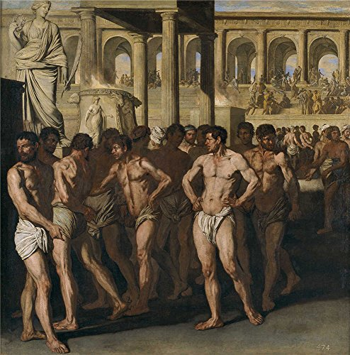 The Polyster Canvas Of Oil Painting 'Falcone Aniello Gladiadores 1640 ' ,size: 18 X 18 Inch / 46 X 46 Cm ,this Cheap But High Quality Art Decorative Art Decorative Canvas Prints Is Fit For Laundry Room Decor And Home Decoration And Gifts
