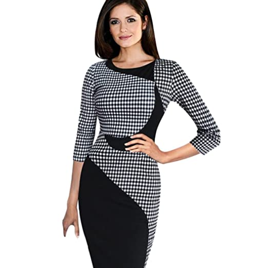 Minisoya Women Half Sleeve Plaid Casual Business Midi Dress Formal Cocktail Evening Party Office Bodycon Pencil