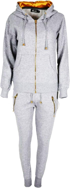 SA Fashions/® Ladies New Loungewear Jogging Joggers Sweatshirt Pants Hooded Gold Zip Gym wear Yoga Full Tracksuit Set 8-18