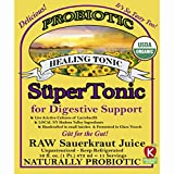 """Healing"" SuperTonic for digestive support: organic, probiotic. 11 servings/bottle. No shipping charges with minimum. Pure juice of raw fermented sauerkraut, unpasteurized, kosher, vegan, gluten free."