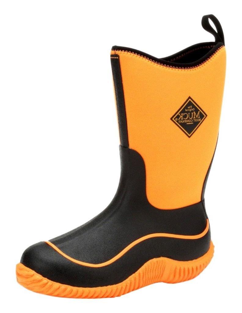 MuckBoots Kids' Hale Neon Snow Boot, Black/Neon Orange, 7 M US Big Kid by Muck Boot