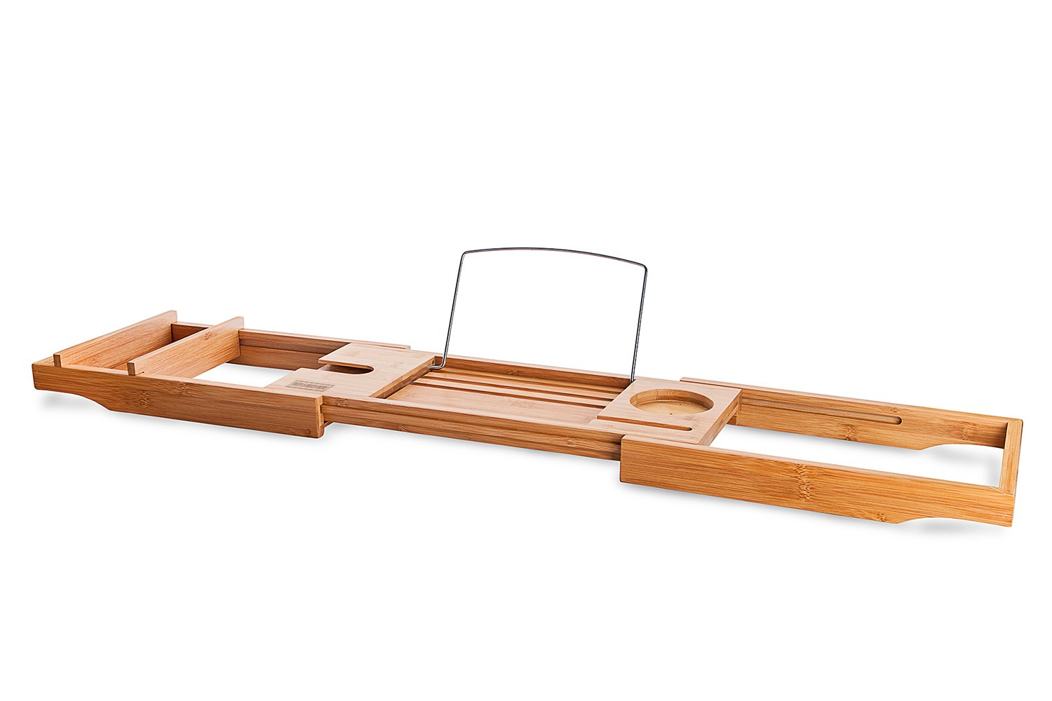 Bamboo Bathtub Tray Caddy - Expandable - Water Resistant - Bath Organizer for Cell Phone Book iPad